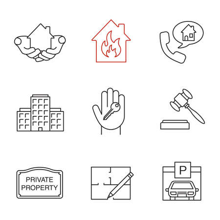 house key outline. Real Estate Market Linear Icons Set. House In Hands, Multi-storey Building, Key Outline Y