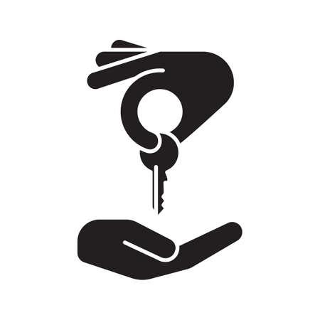 Mano que da la llave a otro ícono del glifo de la mano. Símbolo de la silueta del comprador de vivienda. Mercado inmobiliario. Espacio negativo. Ilustración vectorial aislado Foto de archivo - 84576510
