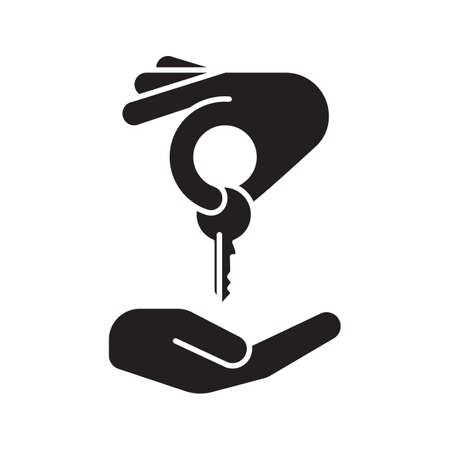 Hand giving key to another hand glyph icon. Homebuyer silhouette symbol. Real estate market deal. Negative space. Vector isolated illustration Illustration