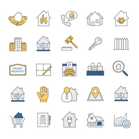 Real estate market color icons set. Property development. Building business. Home, house, blueprint, buy, rent and sell signs. Isolated vector illustrations.