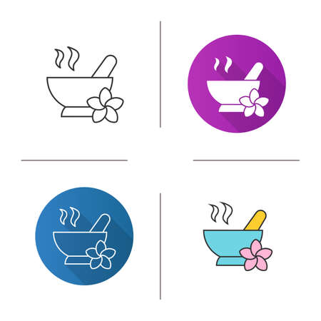Spa salon mortar and pestle icon. Flat design, linear and color styles. Aromatherapy. Isolated vector illustrations
