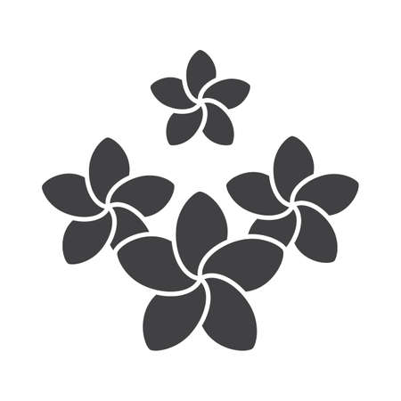 Spa salon plumeria flowers glyph icon. Silhouette symbol. Aromatherapy. Negative space. Vector isolated illustration. Illustration