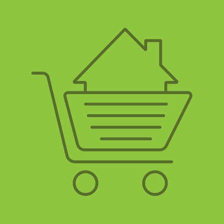 Shopping trolley with house inside color linear icon. Property purchase. Thin line outline symbols on color background. Real estate market deal. Vector illustration