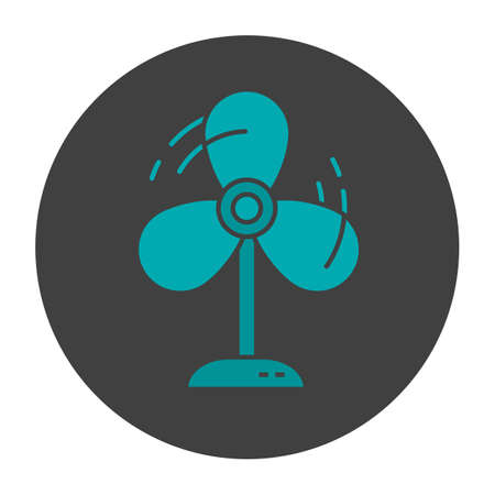 Fan glyph color icon. Ventilator. Silhouette symbol on black background. Negative space. Vector illustration Illustration