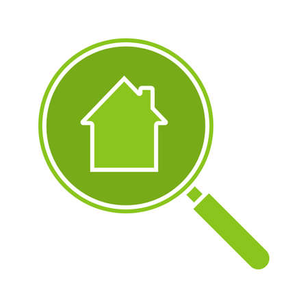 Real estate search glyph color icon. Looking for apartment. House hunt. Magnifying glass with building inside. Silhouette symbol on white background. Negative space. Vector illustration