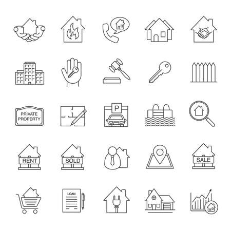 accommodation broker: Real estate market linear icons set. Property development thin line symbols. Building business. Home, house, blueprint, buy, rent and sell signs. Isolated vector outline illustrations. Editable stroke