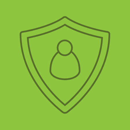 User security color linear icon. Protection shield with man figure. Thin line outline symbols on color background. Vector illustration