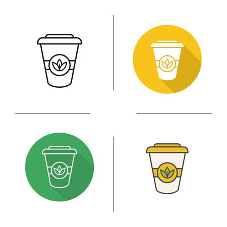 Takeaway tea cup icon. Flat design, linear and color styles. Tea to go. Isolated vector illustrations Illustration