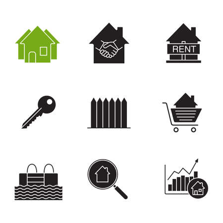 Real estate market glyph icons set. Silhouette symbols. Neighborhood, house for rent, key, fence, swimming pool, real estate deal, shopping cart with house inside. Vector isolated illustration.