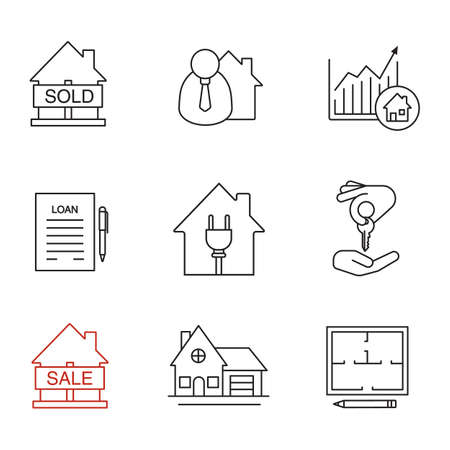 homebuyer: Real estate market linear icons set. Sold house, broker, loan agreement, cottage, house for sale, chart, homebuyer. Thin line contour symbols. Isolated vector outline illustrations.