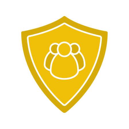 Gebruikers bescherming glyph kleur pictogram. Collectieve beveiliging. Beschermingsschild met een groep mensen. Silhouetsymbool op witte achtergrond. Negatieve ruimte. Vector illustratie.