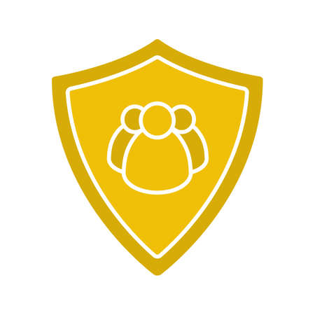 Users protection glyph color icon. Collective security. Protection shield with group of people. Silhouette symbol on white background. Negative space. Vector illustration. 向量圖像