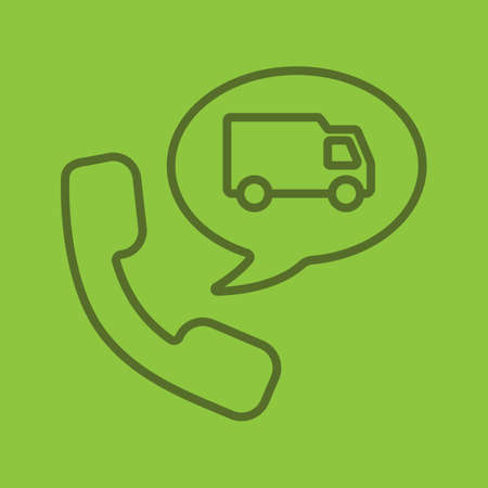 Delivery order by phone linear icon. Handset with delivery van inside speech bubble. Thin line outline symbols on color background. Vector illustration. Ilustrace