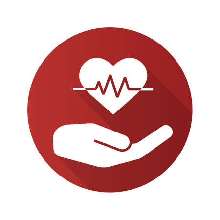 Heart care flat design long shadow glyph icon. Human hand with heartbeat curve. Vector silhouette illustration.