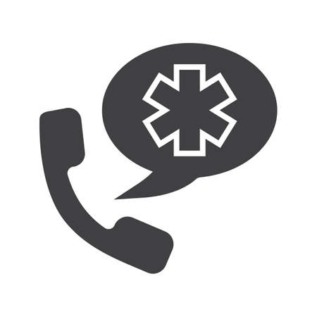 Emergency phone call to hospital glyph icon. Silhouette symbol. Handset with star of life inside speech bubble. Negative space. Vector isolated illustration.