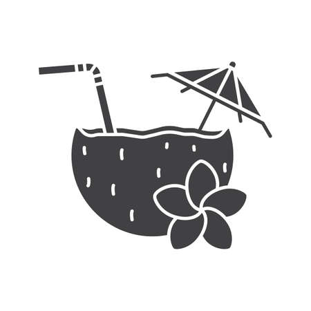 Beach cocktail glyph icon. Silhouette symbol. Pina colada cocktail with straw, umbrella and plumeria flower. Negative space. Vector isolated illustration