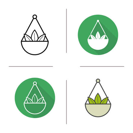 Apothecary herbs in scalepan icon. Flat design, linear and color styles. Loose tea leaves. Isolated vector illustrations Illustration