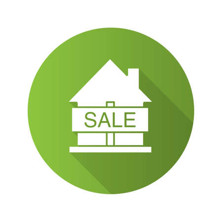 House for sale flat design long shadow glyph icon. Real estate market. Vector silhouette illustration