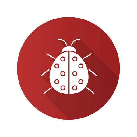 Ladybug flat design long shadow glyph icon. Ladybird. Vector silhouette illustration
