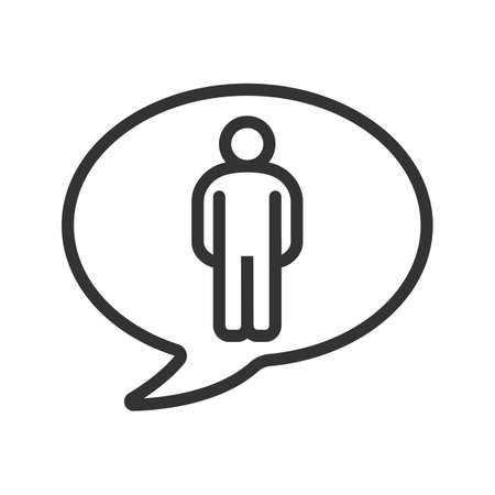 Talk about man linear icon. Thin line illustration. Speech bubble with man figure contour symbol. Vector isolated outline drawing Illustration