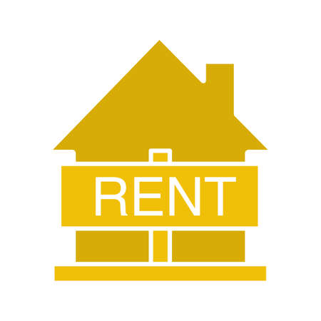 House for rent glyph color icon. Rental property. Silhouette symbol on white background. Negative space. Vector illustration