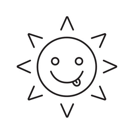Yummy sun smile linear icon. Tease smiley thin line illustration. Contour symbol. Silly, goofy, foolish sun emoticon. Vector isolated outline drawing Illustration