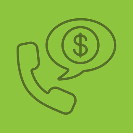 Phone talk about money linear icon. Handset with US dollar sign inside speech bubble. Thin line outline symbols on color background. Vector illustration