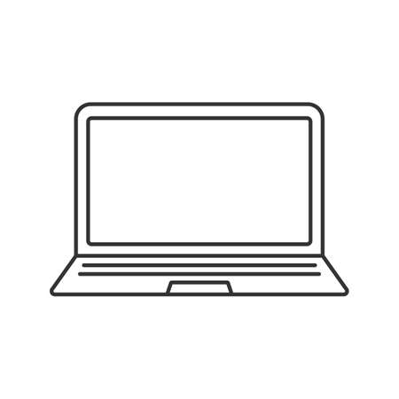 Laptop linear icon. Thin line illustration. Notebook contour symbol. Vector isolated outline drawing