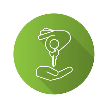 Hand giving key to another hand. Flat linear long shadow icon. Real estate market deal. Homebuyer. Private property purchase. Vector outline symbol Illustration