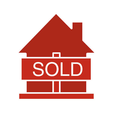 accommodation broker: Sold house glyph color icon. Real estate purchase. House with sold sign. Silhouette symbol on white background. Negative space. Vector illustration