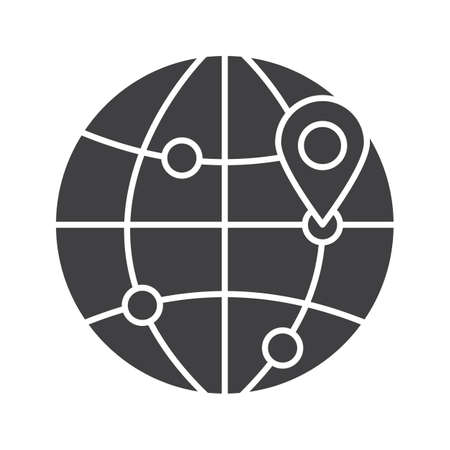 geolocation: Flight destinations glyph icon. Worldwide travel locations silhouette symbol. Globe model with route points and map pinpoint. Negative space. Vector isolated illustration