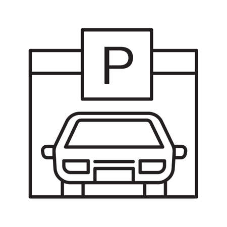 Parking place linear icon. Garage thin line illustration. Auto shed contour symbol. Vector isolated outline drawing Illusztráció