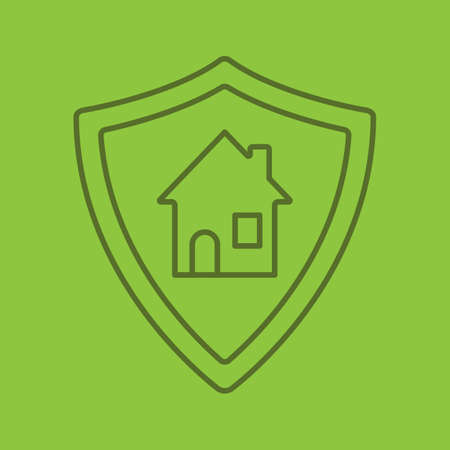 Real estate security color linear icon. Smart home. Protection shield with house. Thin line outline symbols on color background. Vector illustration