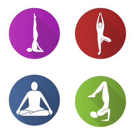 Yoga asanas flat design long shadow glyph icon. Sarvangasana, vrikshasana, siddhasana, vrishchikasana yoga positions. Vector silhouette illustration