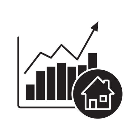 Real estate market growth chart glyph icon. Silhouette symbol. Houses price rise. Negative space. Vector isolated illustration