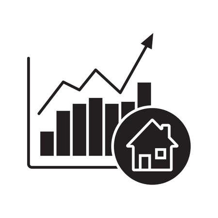 Glyphe-Symbol für Immobilienmarkt-Wachstum. Schattenbildsymbol. Häuser Preisanstieg. Negativer Raum Vektor isolierte Abbildung
