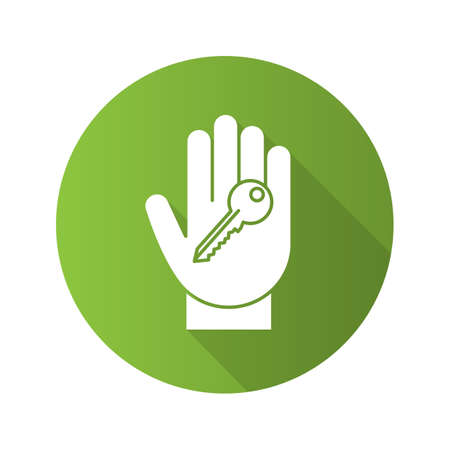 Hand with key flat linear long shadow icon. Realty purchase. Private property owner. Vector outline symbol
