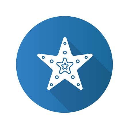 star fish: Sea star flat design long shadow glyph icon. Vector silhouette illustration