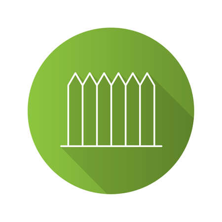 Fence flat linear long shadow icon. Picket. Palisade. Vector outline symbol