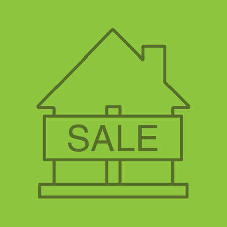 House for sale color linear icon. Real estate market. Thin line outline symbols on color background. Building business. Vector illustration