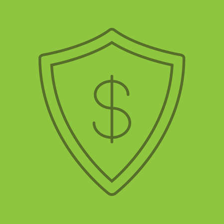 Money security color linear icon. Protection shield with dollar sign. Thin line outline symbols on color background. Vector illustration Illustration