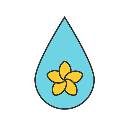 Aromatherapy oil drop color icon. Spa salon oil drop with plumeria flower inside. Isolated vector illustration