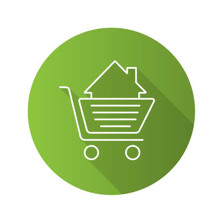 Shopping cart with house inside. Flat linear long shadow icon. Property purchase. Vector outline symbol