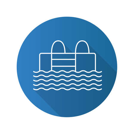 Swimming pool flat linear long shadow icon. Vector outline symbol