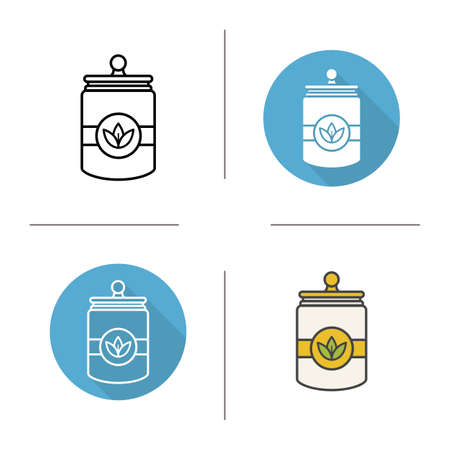 Tea and herbs jar icon. Flat design, linear and color styles. Isolated vector illustrations