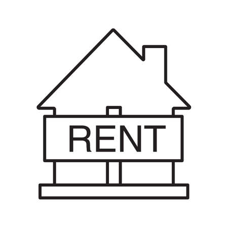 accommodation broker: House for rent linear icon. Thin line illustration. Rental property. Real estate market. contour symbol. Vector isolated outline drawing