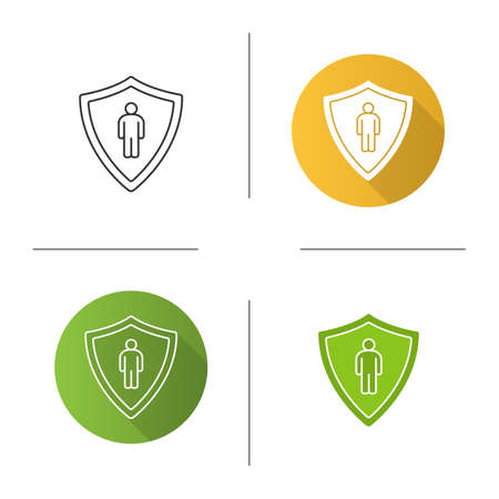 Bodyguard icon. Flat design, linear and glyph color styles. Man inside protection shield. Isolated vector illustrations Illustration