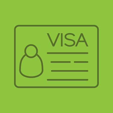 Travel visa linear icon. Thin line outline symbols on color background. Vector illustration