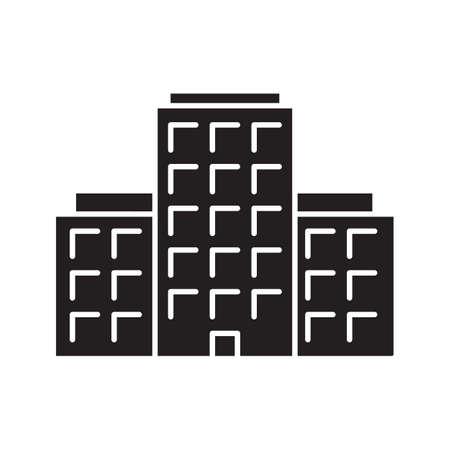 多階建ての建物のグリフのアイコン。集合住宅。シルエットのシンボル ...
