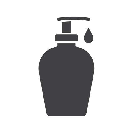 Liquid soap bottle with drop glyph icon. Silhouette symbol. Shower gel. Negative space. Vector isolated illustration
